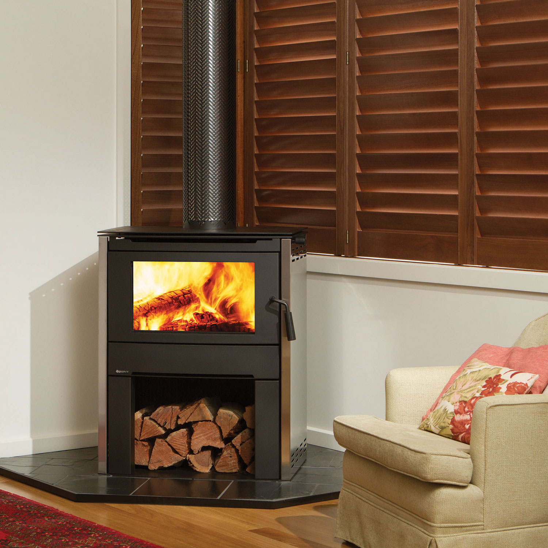 Regency Alterra wood heater with storage underneath