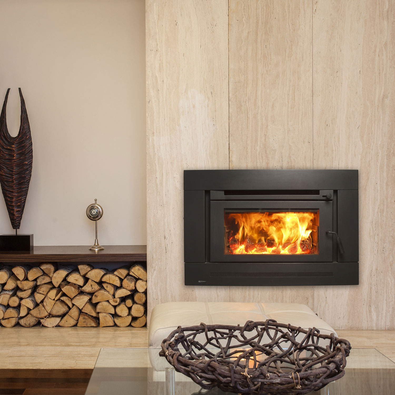 Regency Berwick inset wood fire in neutral stylish setting