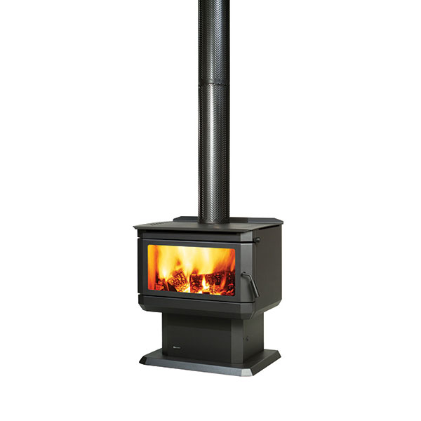 Regency Gosford wood fire on white background with flue