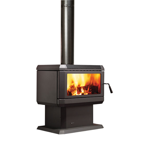 Regency Hume wood fire on white background