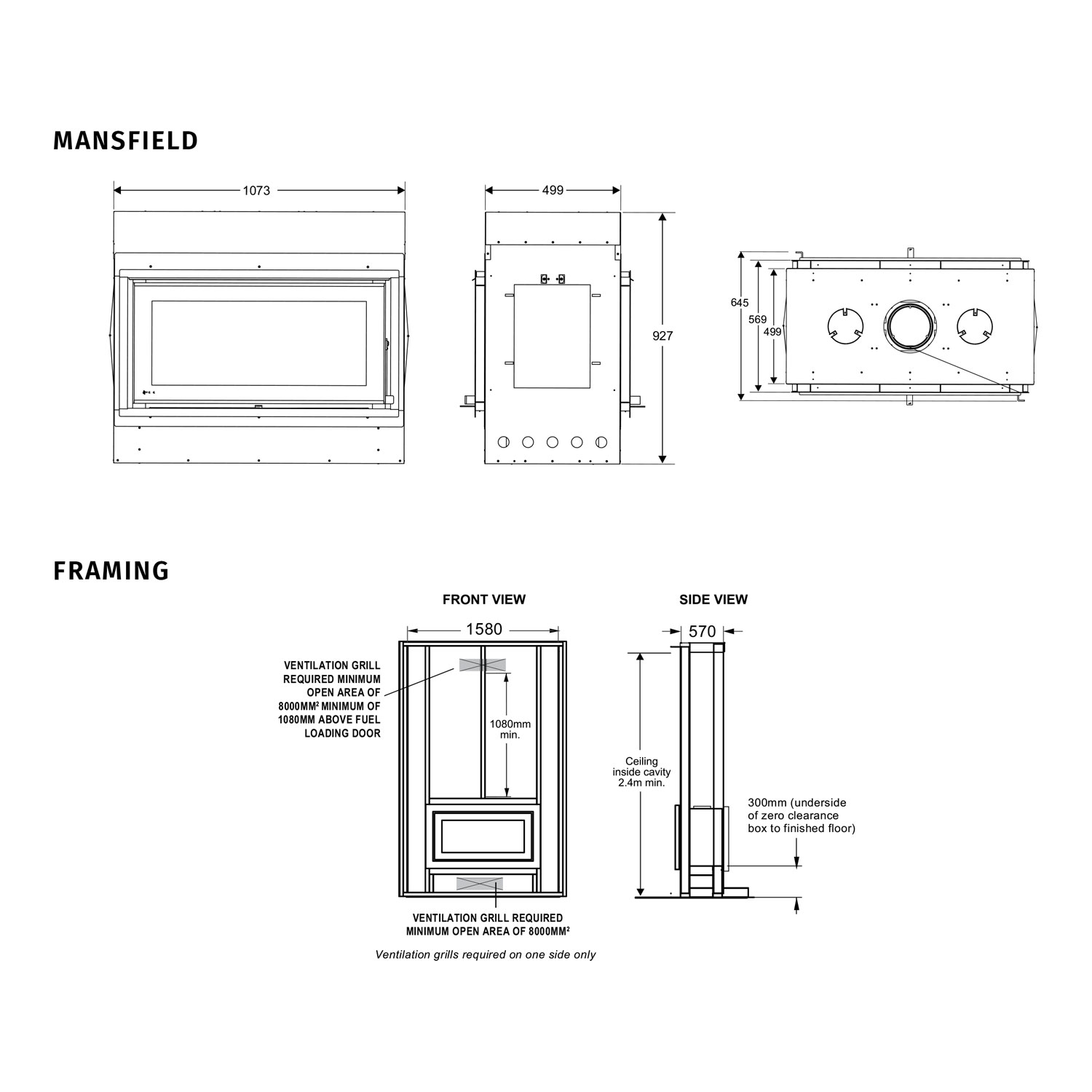 Regency Mansfield dimensions, framing and clearances
