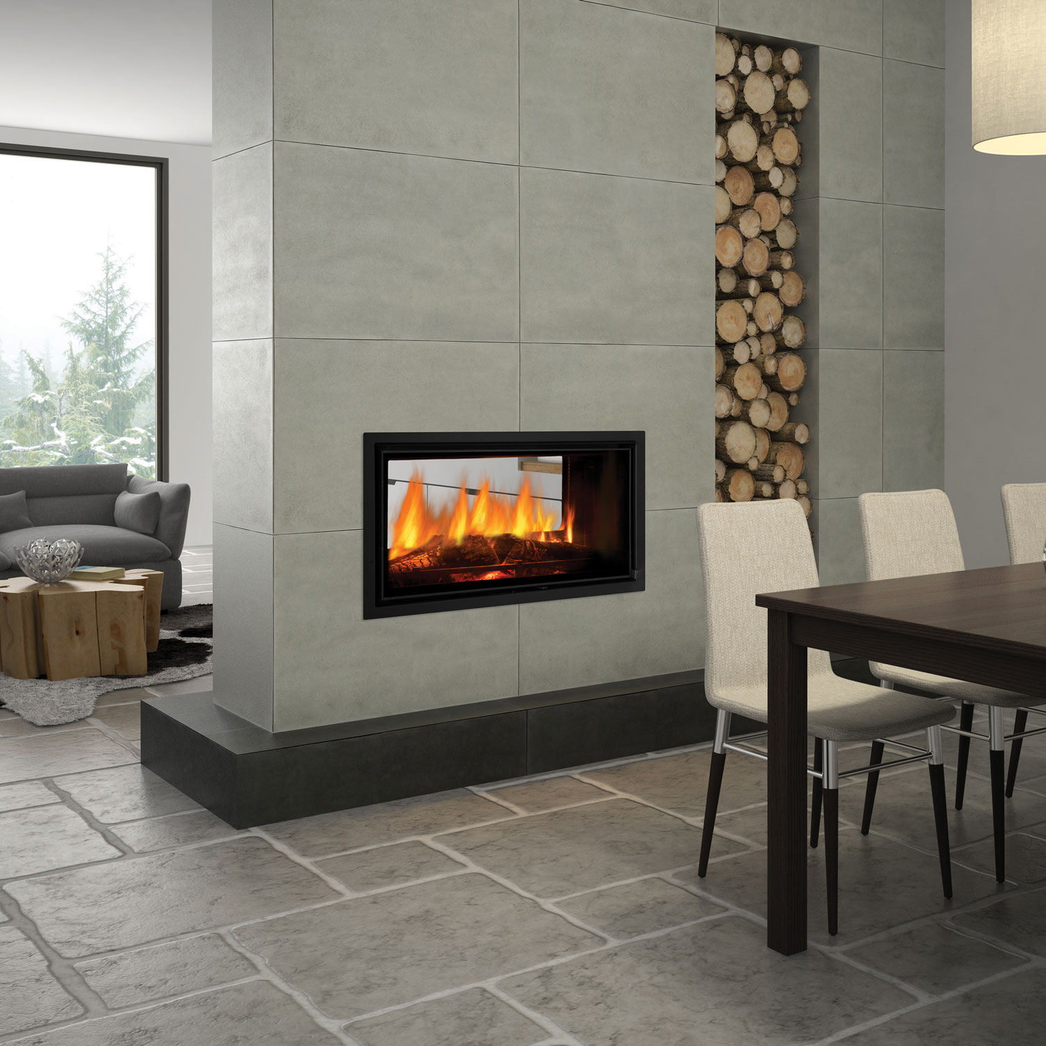 Regency Mansfield see through double-sided wood heater