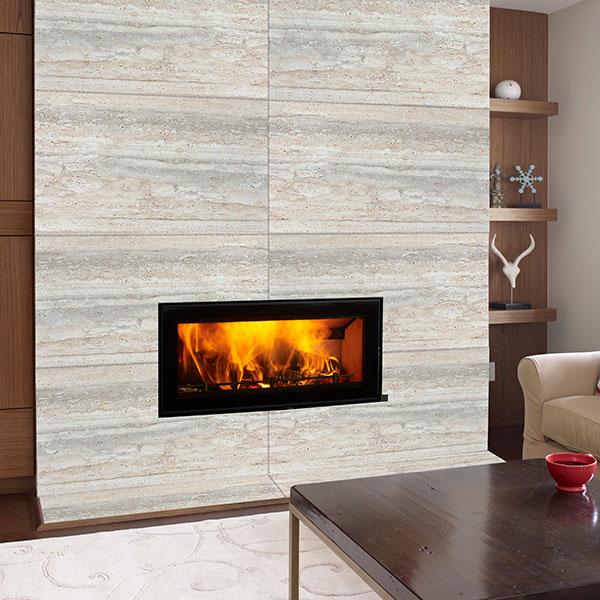 Regency Montrose inset wood heater in tiled fireplace