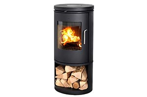 Cylindrical fire box with door and open wood storage underneath