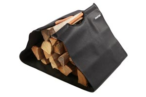 Stylish canvas log carrier with timber handles