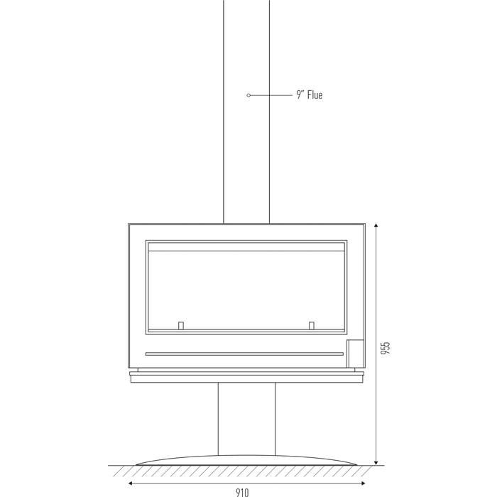 Technical drawing with detailed specifications for Invicta Nelson wood heater