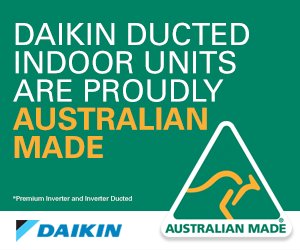 Australian made logo on banner saying Daikin ducted indoor units are proudly Australian made.