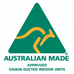 Australian Made logo with yellow kangaroo saying Approved Daikin ducted indoor units