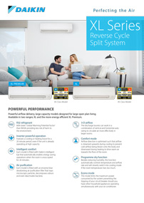 Front cover of Daikin XL Series high wall split system air conditioners brochure